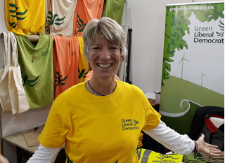GLD Stall - Pippa Heylings modelling the new T-shirt (Kevin Daws)